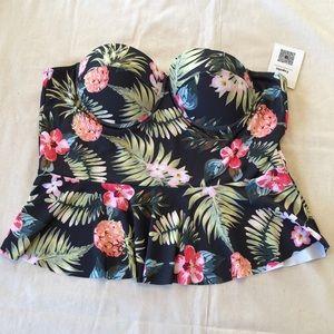 NWT Cupshe Pineapple Floral Print Swim Bikini Top